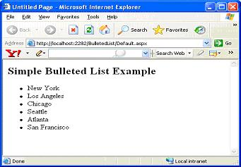 bulleted list server control in asp net 2 0