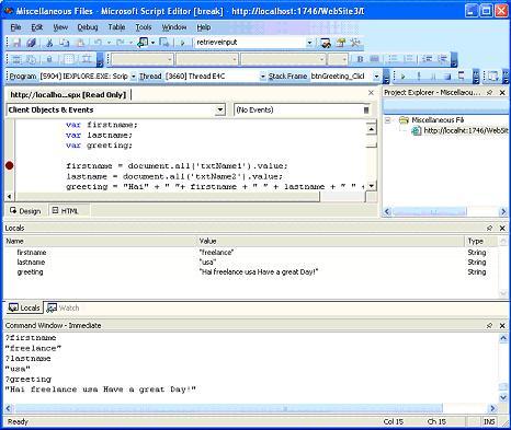 Client Side Script Debugging in ASP NET