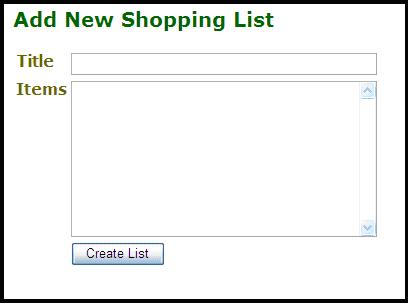 Screen design for creating a new shopping list
