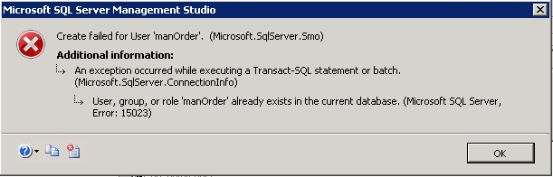 Create failed for user SQL Server error.